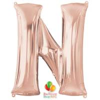 Jumbo Letter N Foil Balloon Rose Gold 35 inch Inflated delivery from Balloon Shop NYC
