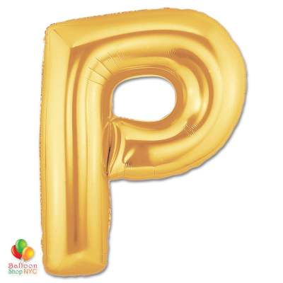 Jumbo Letter P Foil Balloon Gold 40 inch Inflated delivery from Balloon Shop NYC
