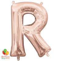 Jumbo Letter R Foil Balloon Rose Gold 35 inch Inflated delivery from Balloon Shop NYC