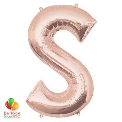 Jumbo Letter S Foil Balloon Rose Gold 35 inch Inflated delivery from Balloon Shop NYC
