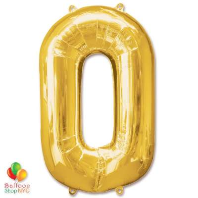 Jumbo Number 0 Foil Balloon Gold 40 inch Inflated delivery from Balloon Shop NYC