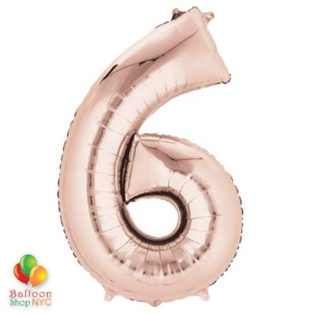 Jumbo Number 6 Foil Balloon Rose Gold 35 inch Inflated delivery from Balloon Shop NYC