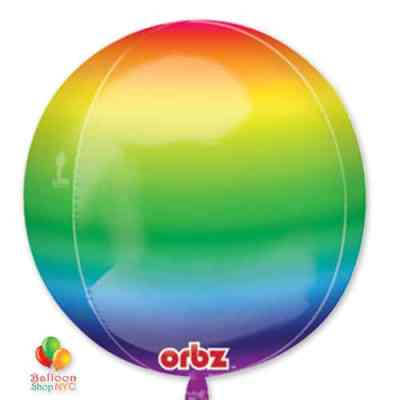 ORBZ Rainbow Balloon 16 inch Inflated delivery from Balloon Shop NYC