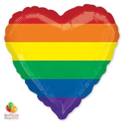 Rainbow Fun Heart Mylar Balloon 18 Inch Inflated delivery Balloon Shop NYC