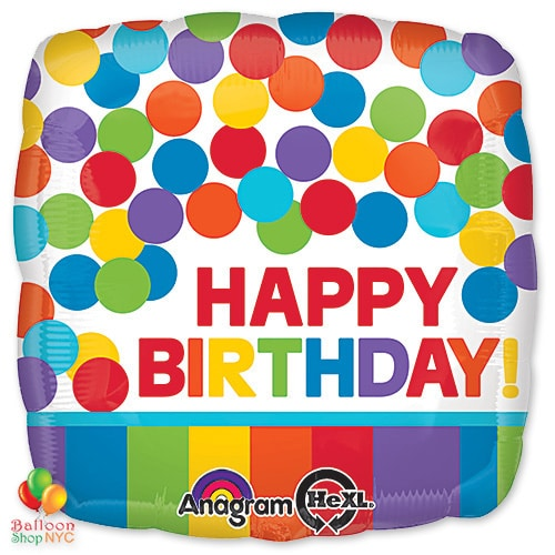 Rainbow Happy Birthday 18 Inch Mylar Balloon Delivery From Shop NYC