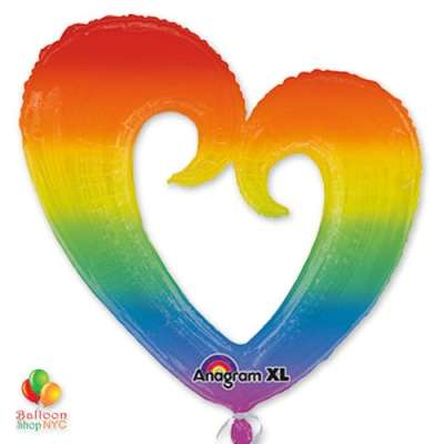 Rainbow Open Heart Mylar Balloon 2879301 32 in delivery from Balloon Shop NYC