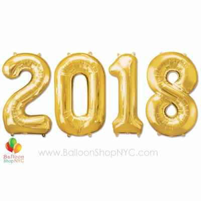 Year 2018 Jumbo Set Foil Balloons Gold 40 inch Inflated delivery from Balloon Shop NYC