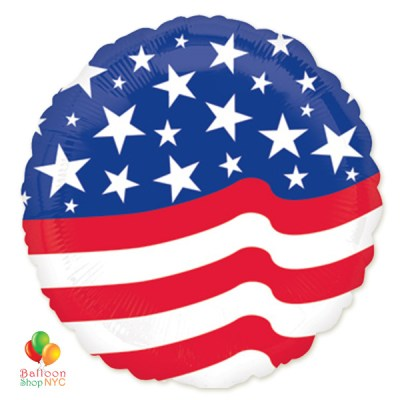 American Flag Stars Stripes Round Mylar Balloon 18 Inch delivery from Balloon Shop NYC