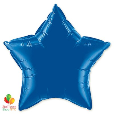 Dark Blue Star Patriotic Mylar Balloon 19 inch Inflated delivery from Balloon Shop NYC