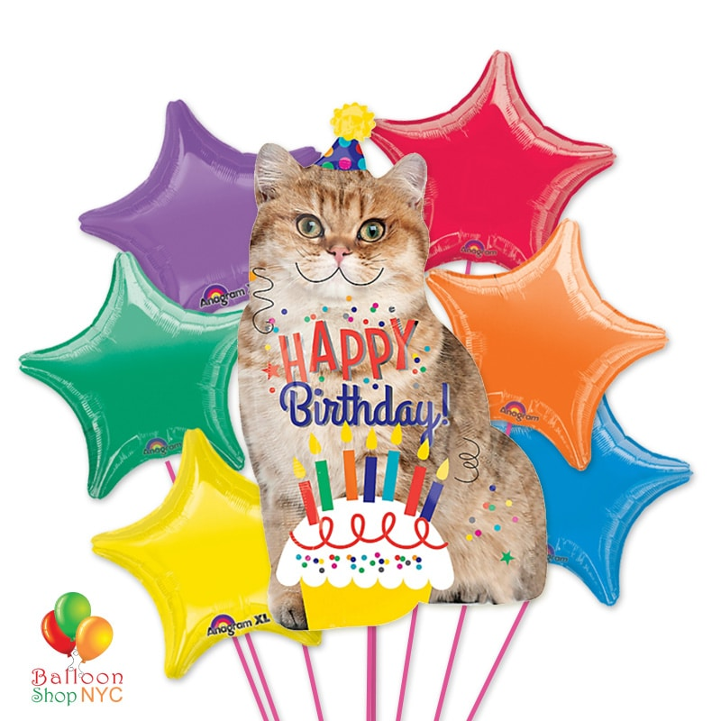 Happy Birthday Cat Cake Jumbo Mylar Balloon Bouquet Delivery In NYC