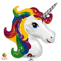 Extra Large Rainbow Unicorn Foil Party Balloon inflated delivery Balloon Shop NYC
