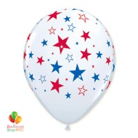 Red Blue Stars White Latex Patriotic Balloon 11 inch Inflated delivery from Balloon Shop NYC