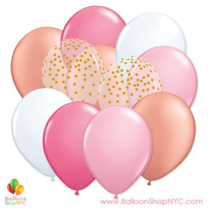 Ultimate Pink Gold 12 inch Latex Party Balloons Bouquet delivery Balloon Shop NYC