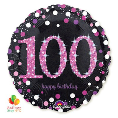 Pink Celebration 100 Holographic 18 Inch Mylar Balloon Inflated high-quality cheap balloons nyc delivery