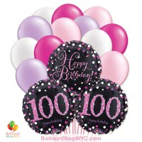 100th Pretty Pink Happy Birthday Mylar Latex Pearl Balloon Bouquet Inflated