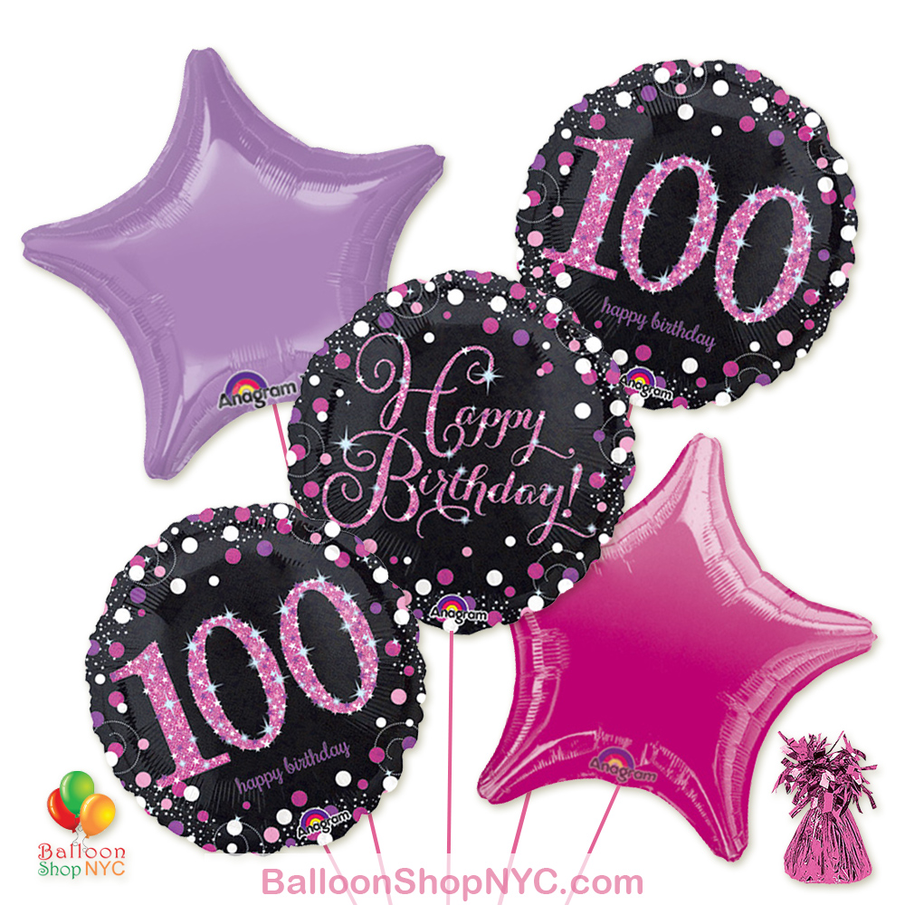 100th Pretty Pink Happy Birthday Mylar Stars Balloon Bouquet Inflated High Quality Cheap Balloons Nyc