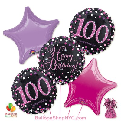 100th Pretty Pink Happy Birthday Mylar Stars Balloon Bouquet Inflated high-quality cheap balloons nyc delivery