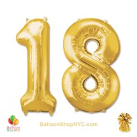18th Birthday Jumbo Number Foil Balloons Set Gold 40 inch Inflated high-quality cheap balloons nyc delivery