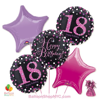 18th Pretty Pink Happy Birthday Mylar Stars Balloon Bouquet Inflated high-quality cheap balloons nyc delivery