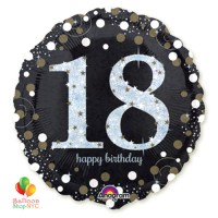 18th Sparkling Birthday Holographic Mylar Balloon 18 Inch Inflated high-quality cheap balloons nyc delivery