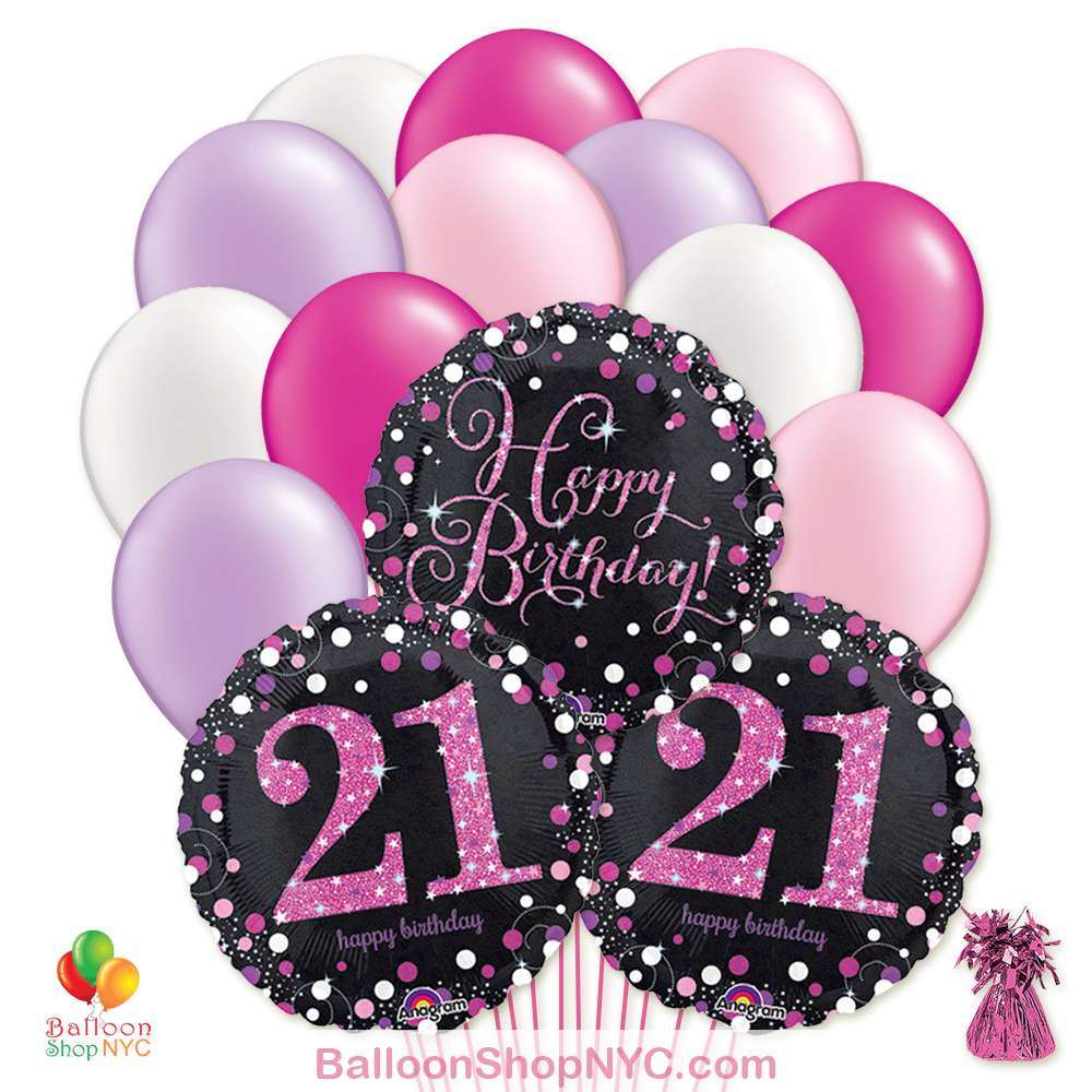 21st Pretty Pink Happy Birthday Mylar Latex Pearl Balloon Bouquet Inflated High Quality Cheap Balloons