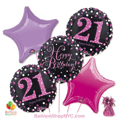 21st Pretty Pink Happy Birthday Mylar Stars Balloon Bouquet Inflated high-quality cheap balloons nyc delivery