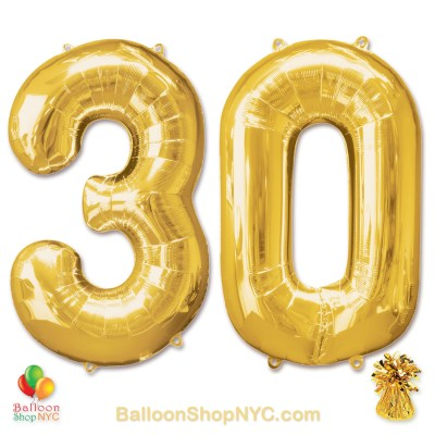 30th Birthday Jumbo Number Foil Balloons Set Gold 40 inch Inflated high-quality cheap balloons nyc delivery