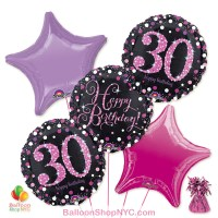 30th Pretty Pink Happy Birthday Mylar Stars Balloon Bouquet Inflated high-quality cheap balloons nyc delivery