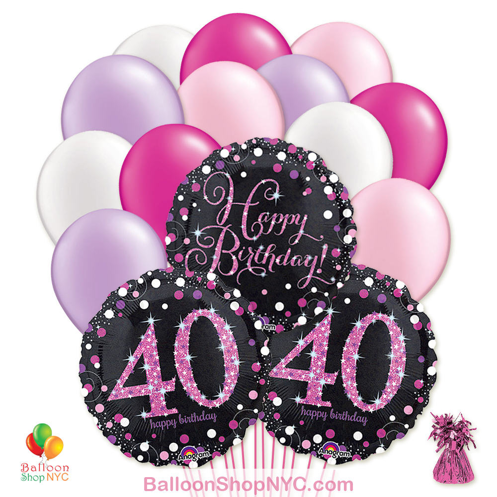 40th Pretty Pink Happy Birthday Mylar Latex Pearl Balloon Bouquet Inflated High Quality Cheap Balloons