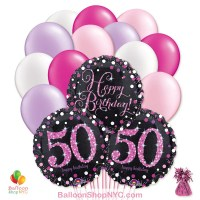 50th Pretty Pink Happy Birthday Mylar Latex Pearl Balloon Bouquet Inflated high-quality cheap balloons nyc delivery
