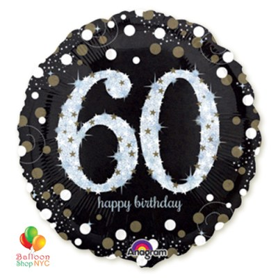 60th Sparkling Happy Birthday Mylar Balloon 18 Inch Helium Inflated high-quality cheap balloons nyc delivery
