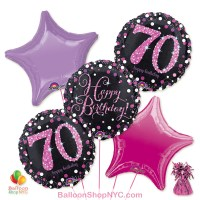 70th Pretty Pink Happy Birthday Mylar Stars Balloon Bouquet Inflated high-quality cheap balloons nyc delivery