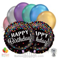 Happy Birthday Holographic Confetti Mylar Balloon Bouquet high-quality cheap balloons nyc delivery