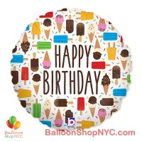 Happy Birthday Ice Cream Mylar Balloon 18 Inch Inflated high-quality cheap balloons nyc delivery