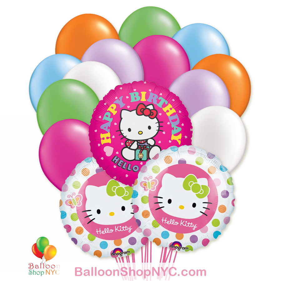 Hello Kitty Happy Birthday Mylar Latex Balloon Bouquet Balloon Shop Nyc