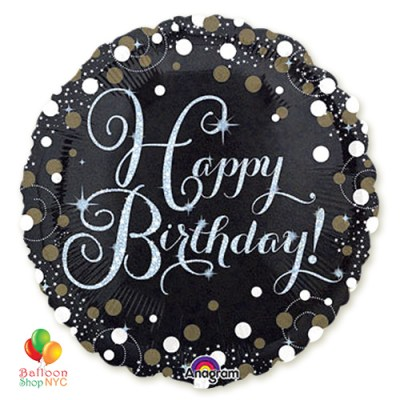 Sparkling Happy Birthday Holographic Mylar Balloon 18 Inch Inflated high-quality cheap balloons nyc delivery