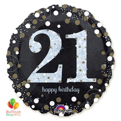 21st Sparkling Happy Birthday Mylar Balloon 18 Inch Inflated high-quality cheap balloons nyc delivery