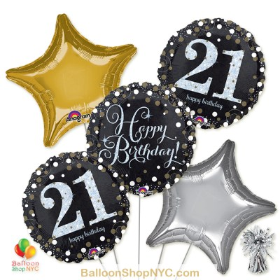 21st Sparkling Happy Birthday Mylar Latex Pearl Balloon Bouquet Inflated high-quality cheap balloons nyc delivery