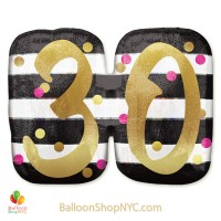 30th Milestone Happy Birthday Pink Gold Mylar Balloon 36 Inch Helium Inflated high-quality cheap balloons nyc delivery
