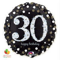 30th Sparkling Happy Birthday Mylar Balloon 18 Inch Inflated high-quality cheap balloons nyc delivery