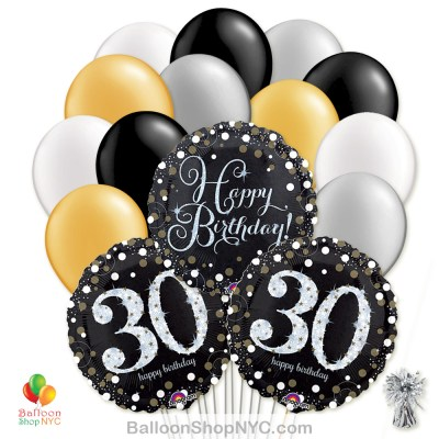 30th Sparkling Happy Birthday Mylar Latex Pearl Balloon Bouquet Inflated high-quality cheap balloons nyc delivery