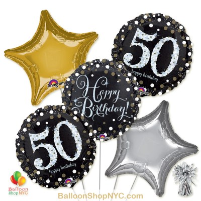 50th Sparkling Happy Birthday Mylar Stars Balloon Bouquet Helium Inflated high-quality cheap balloons nyc delivery