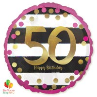 50st Milestone Happy Birthday Pink Gold Mylar Balloon 18 Inch Helium Inflated high-quality cheap balloons nyc delivery