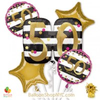 50th Milestone Happy Birthday Pink Gold Mylar Balloon Bouquet Helium Inflated high-quality cheap balloons nyc delivery