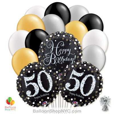 50th Sparkling Happy Birthday Mylar Latex Pearl Balloon Bouquet Helium Inflated high-quality cheap balloons nyc delivery