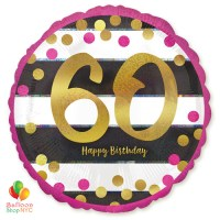 60th Milestone Happy Birthday Pink Gold Mylar Balloon 18 Inch Helium Inflated high-quality cheap balloons nyc delivery
