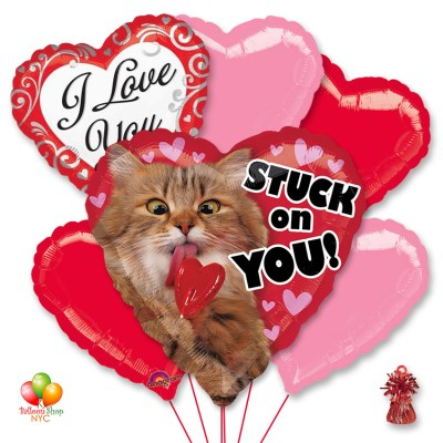 Avanti Stack On You Valentines Mylar Balloon Bouquet with Weight Delivery from Balloon Shop NYC