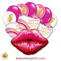 Happy Valentines Day Kissey Lips Balloon Bouquet Inflated Delivery in New York from Balloon Shop NYC