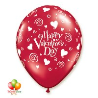 Happy Valentines Day Red Latex Balloon 12 Inch Inflated Delivery in New York from Balloon Shop NYC