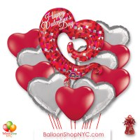 Happy Valentines Day Open Heart Balloon Bouquet with Weight delivery in New York from Balloon Shop NYC